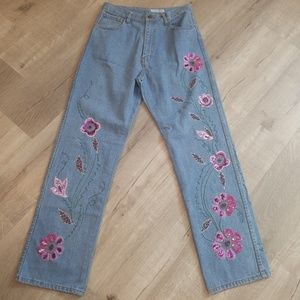 vintage high waisted beautiful sequin jeans
